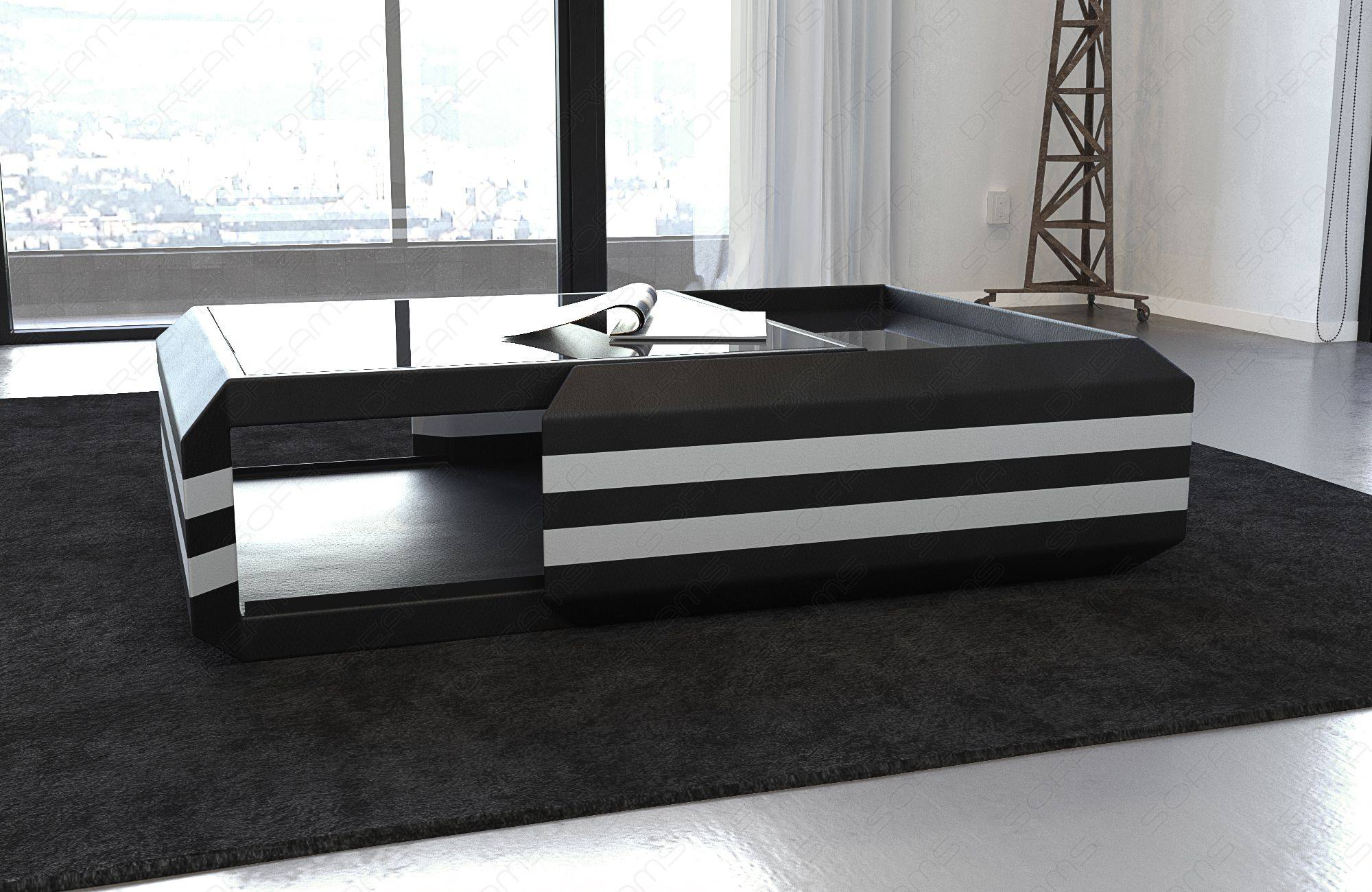 Coffee Table Leather HOLLYWOOD extendable