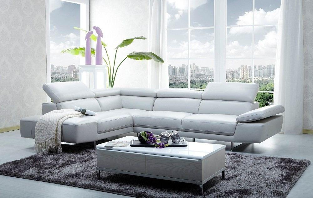 Sectional Leather Sofa Abramo white