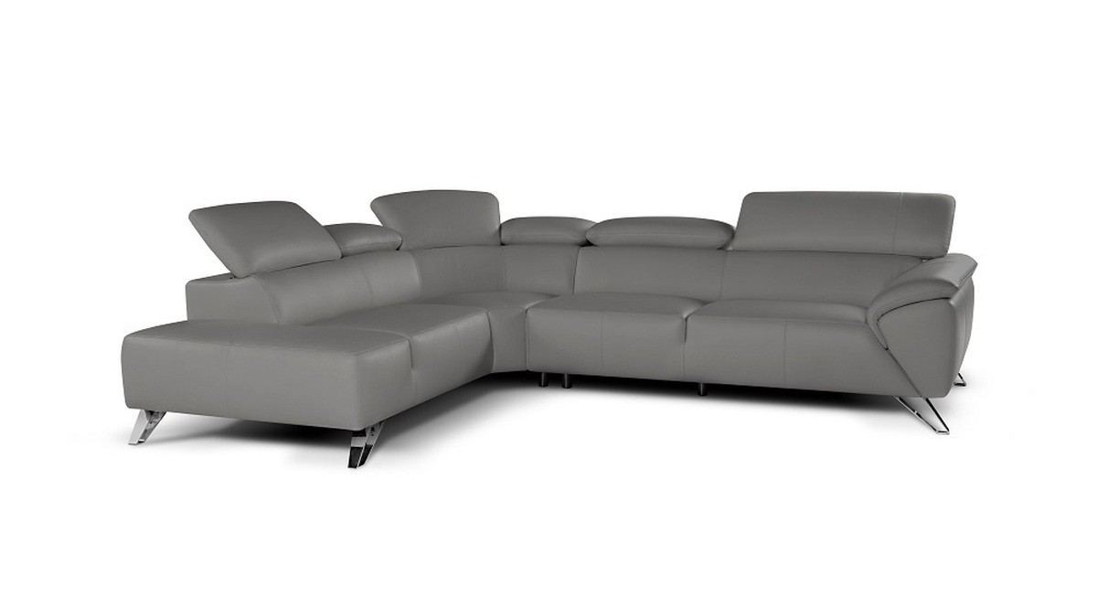 Sectional Leather Sofa Tomaso grey