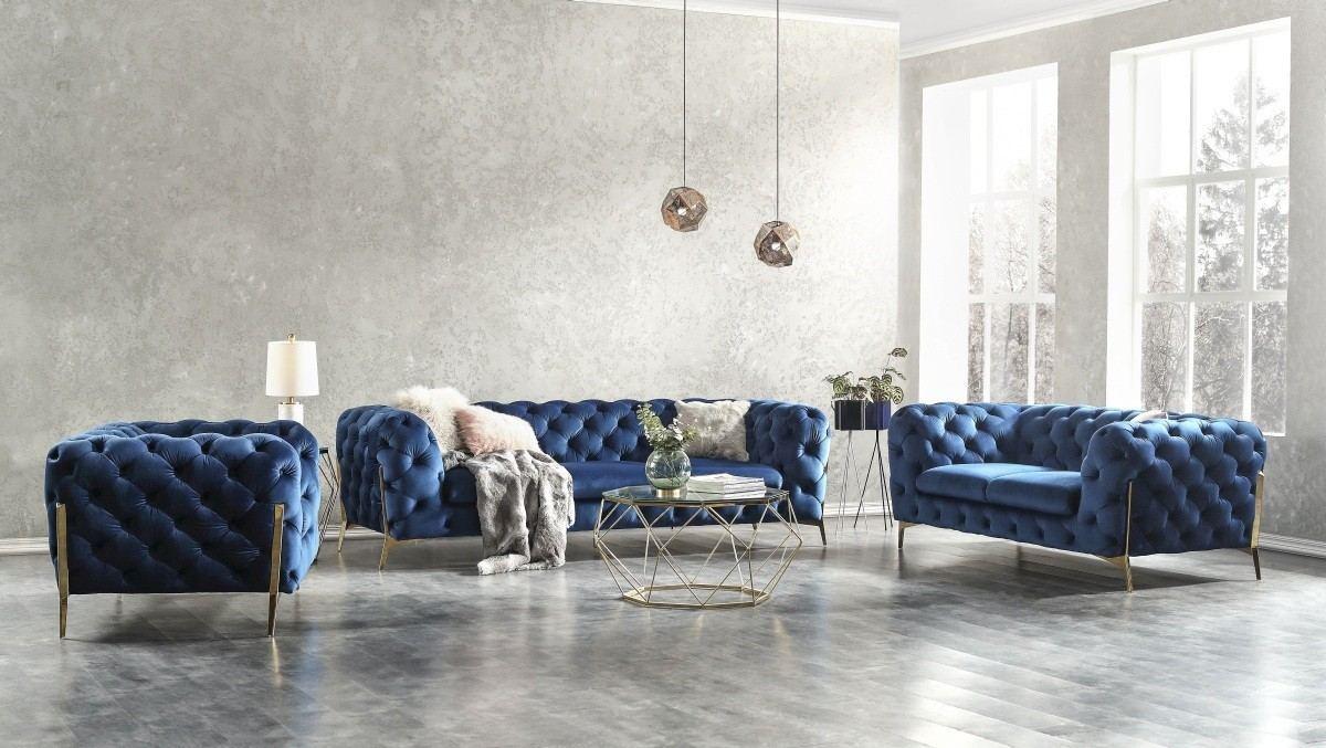 Sofa Set Chesterfield Gavino Velour blue