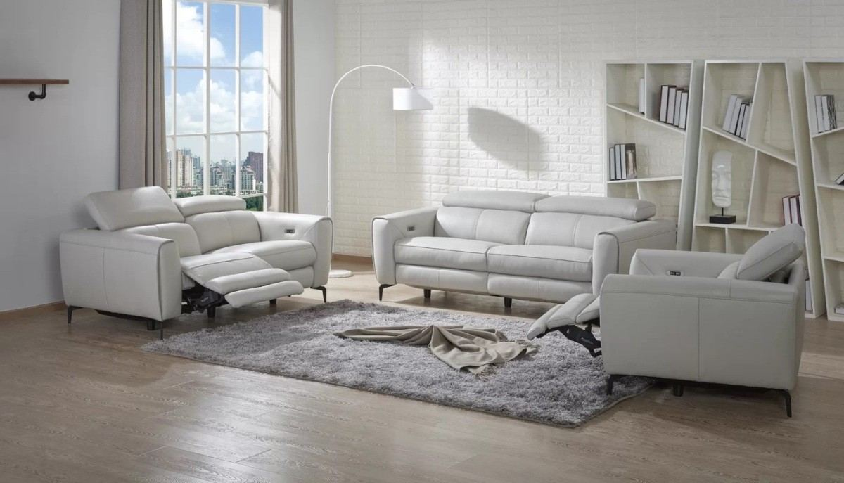 Motion Recliner Sofa Set Massimo white