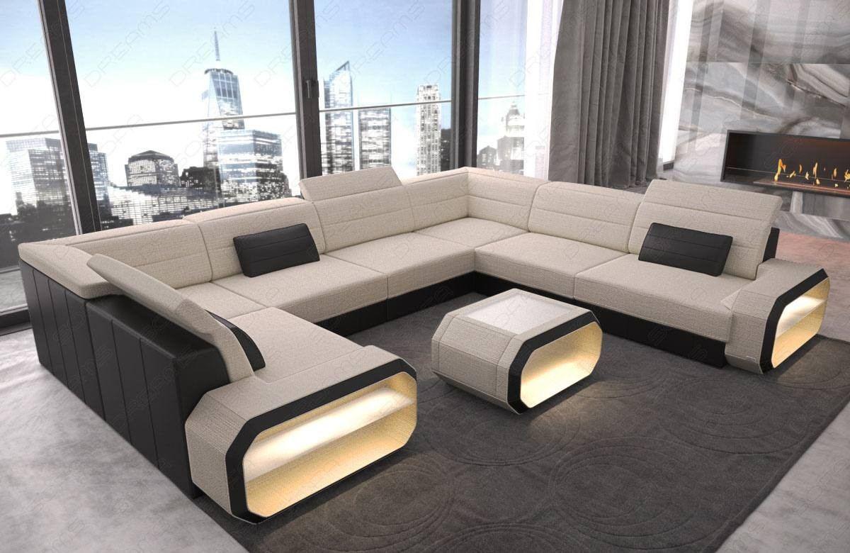 Fabric sectional sofa with led lights ivory Hugo 1