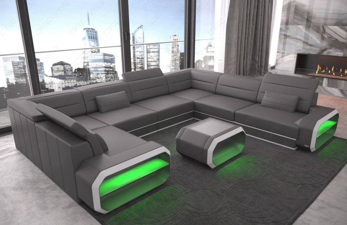 Design Seattle U sofa in grey-white