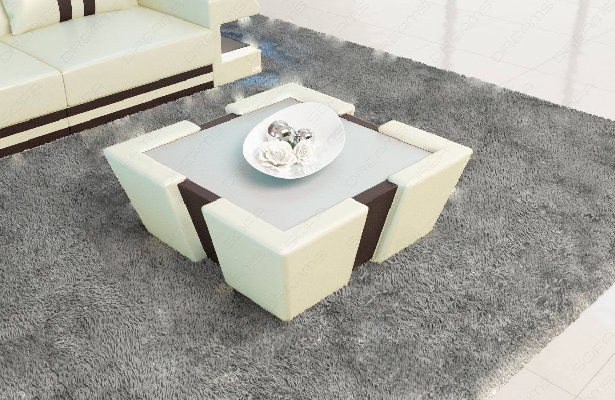 Leather Coffee Table New Jersey in ivory-dark brown