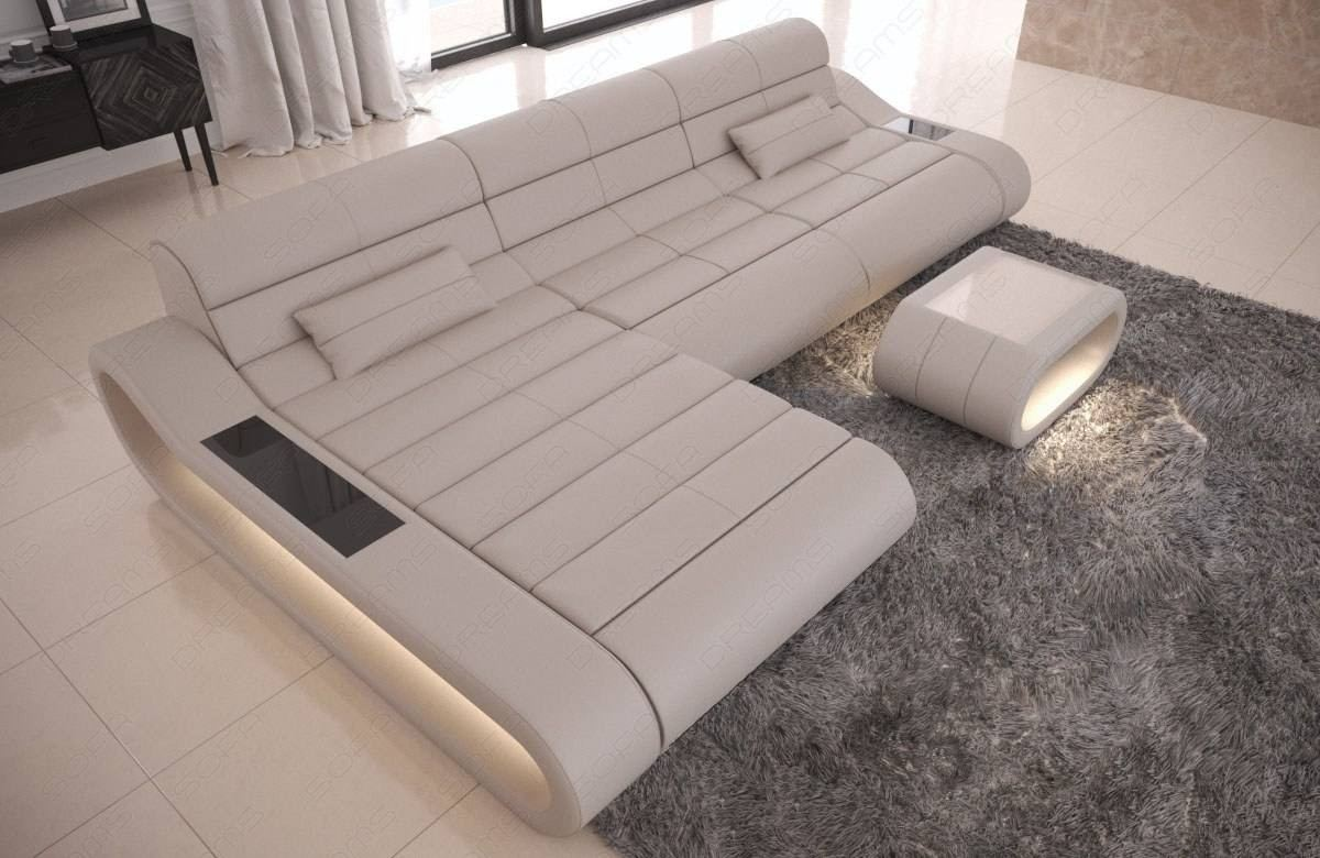 Genuine Leather Sofa Concept L Shape with LED lights - beige