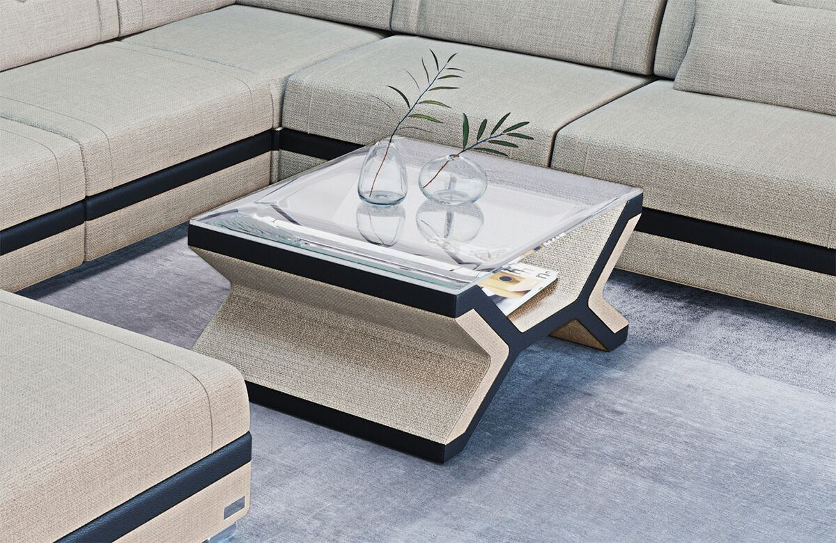 Fabric coffee table San Francisco in Hugo1 - Beige