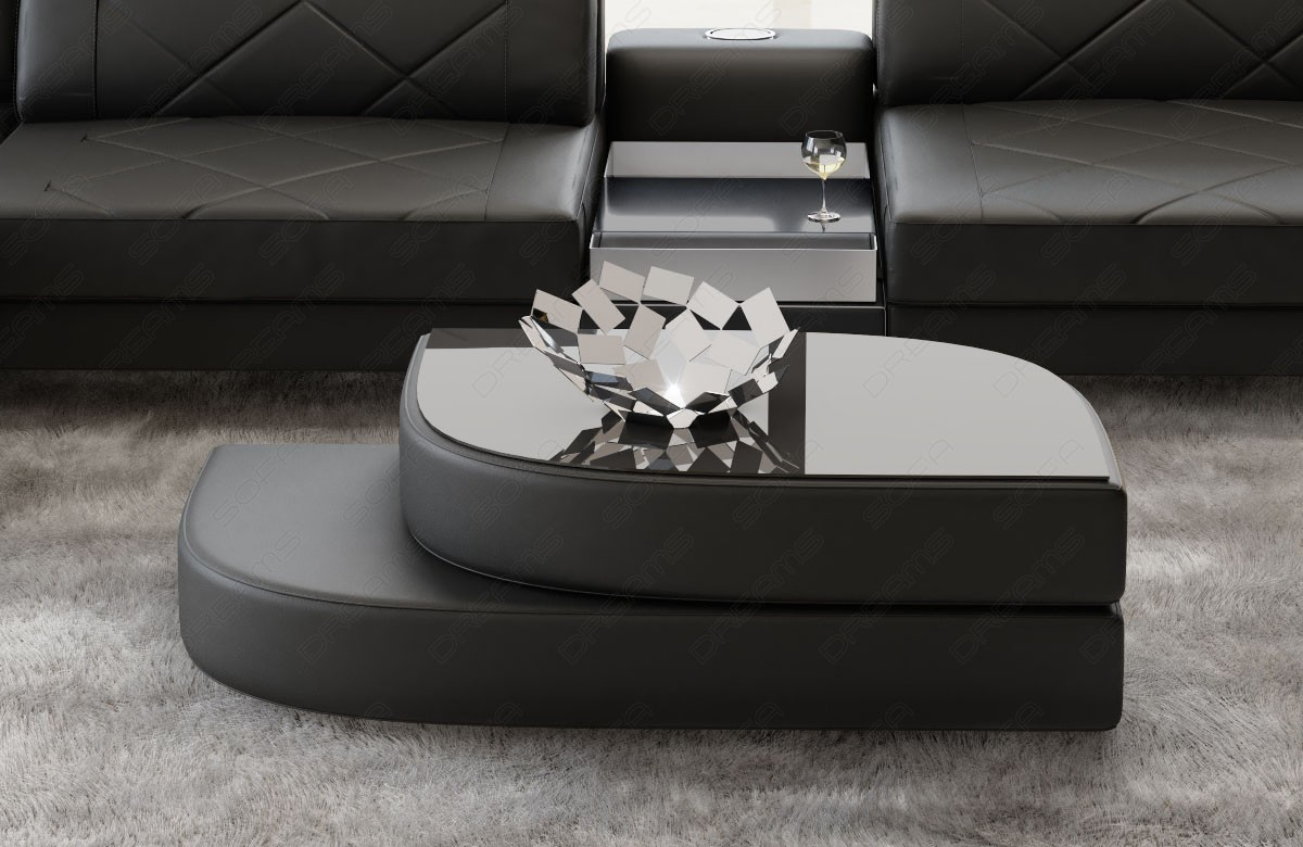 Coffee Table Leather Las Vegas black