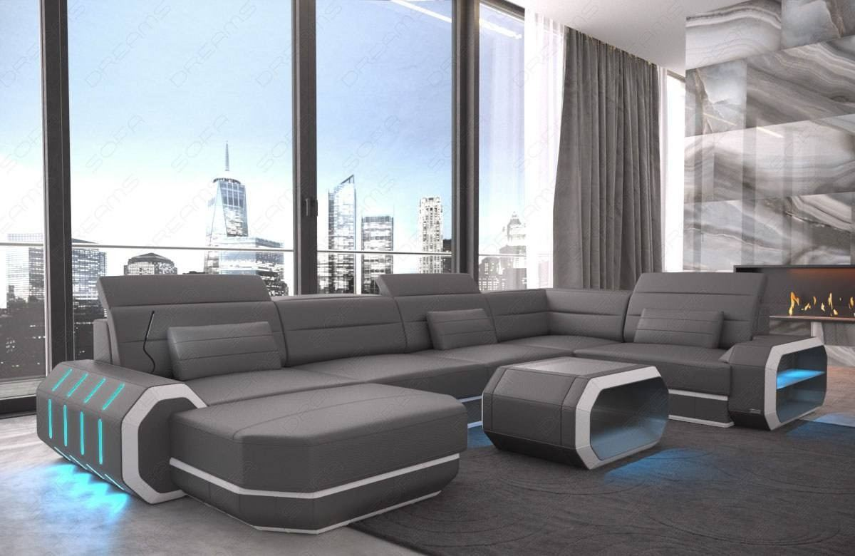 Sectional leather sofa Brooklyn U Shape grey-white