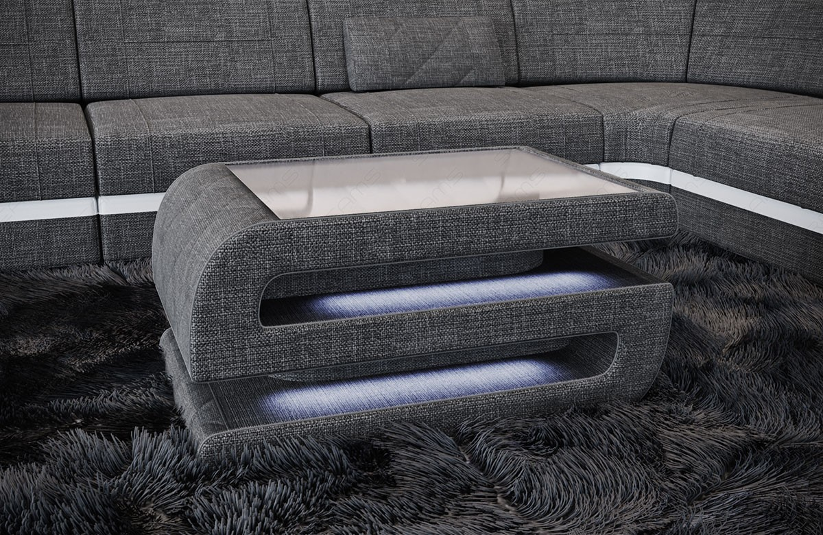 Fabric Coffee Table Gainesville with LED lights grey Hugo 5