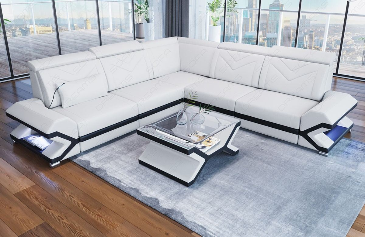 Leather Couch L Shaped Sacramento in white - black