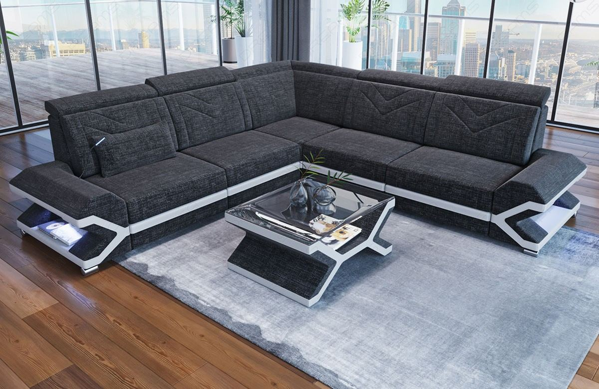 Fabric Corner Sofa Sacramento L Shape in Hugo12 - black grey