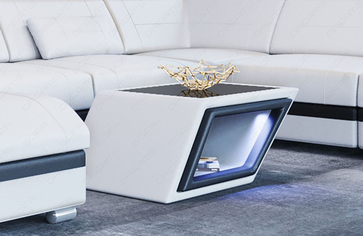 Coffee Table Leather Nashville in white-black