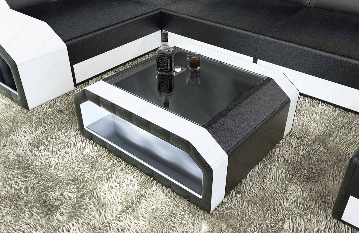 Leather Coffee Table Houston with glass plate