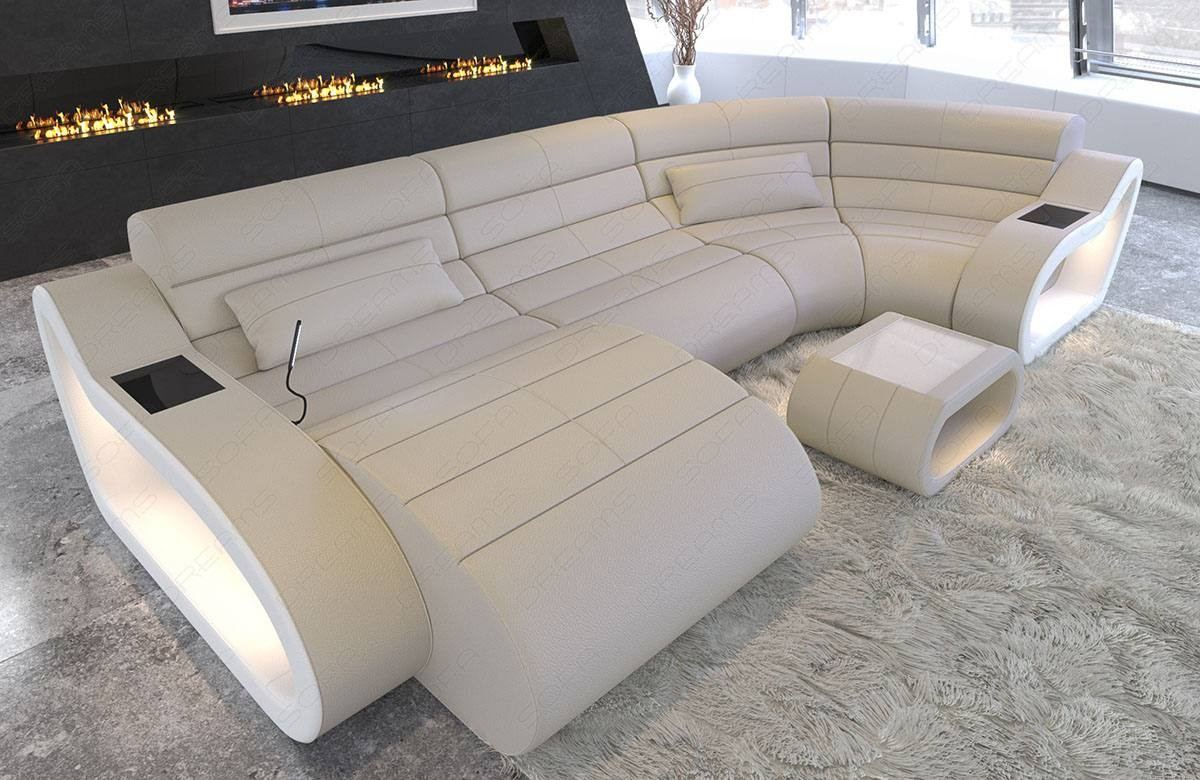 Leather Sofa Daytona U Form with LED Lighting - beige - white