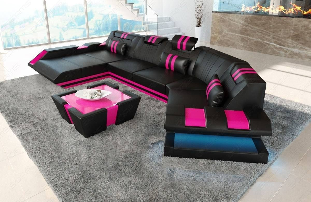 Synthetic Leather Sofa U Shaped sofa New Jersey black-pink