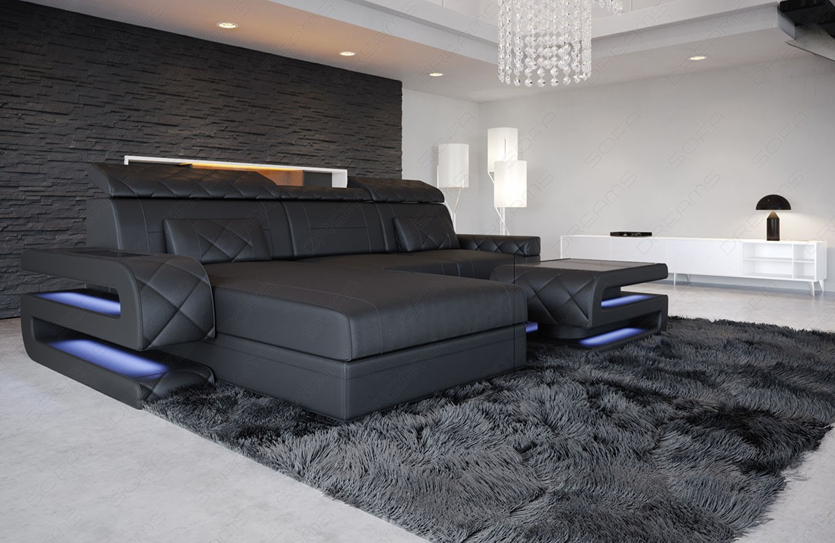 Sectional Sofa with ottoman and lights Gainesville L Shape black