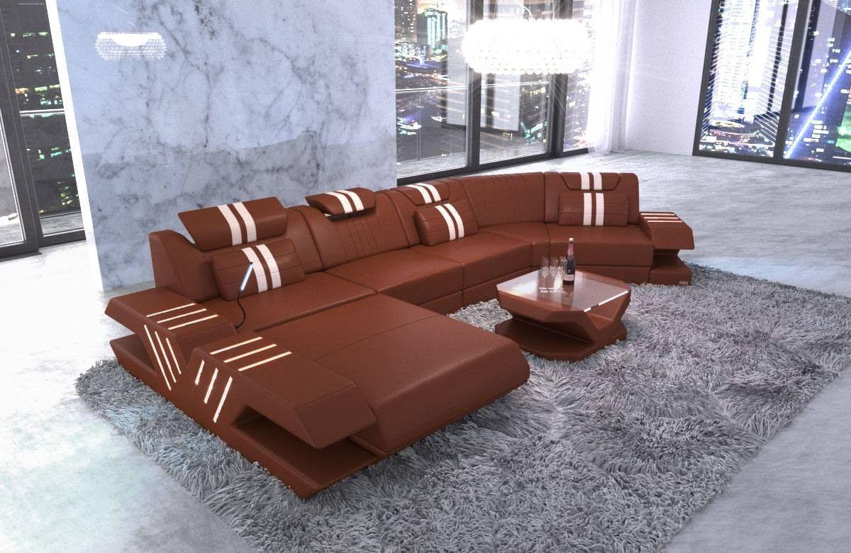 Leather Landscape Beverly Hills U Shape with LED Lighting - light brown