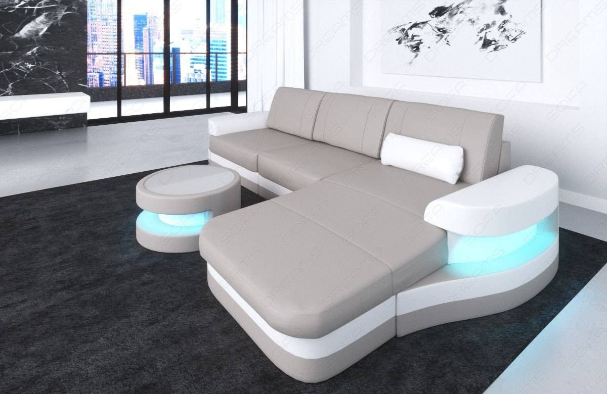 Leather Sofa  Tampa LED lights beige-white