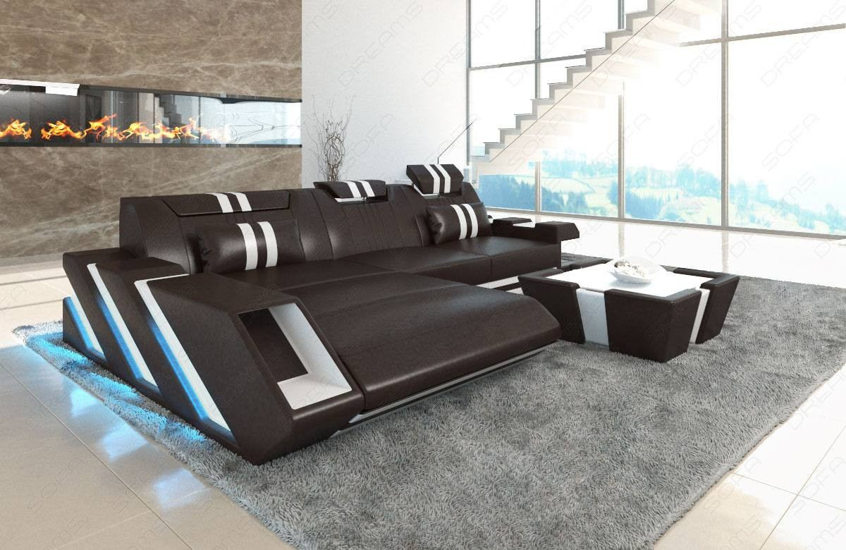 Modern Leather Sofa With LED Lights an USB darkbrown-white