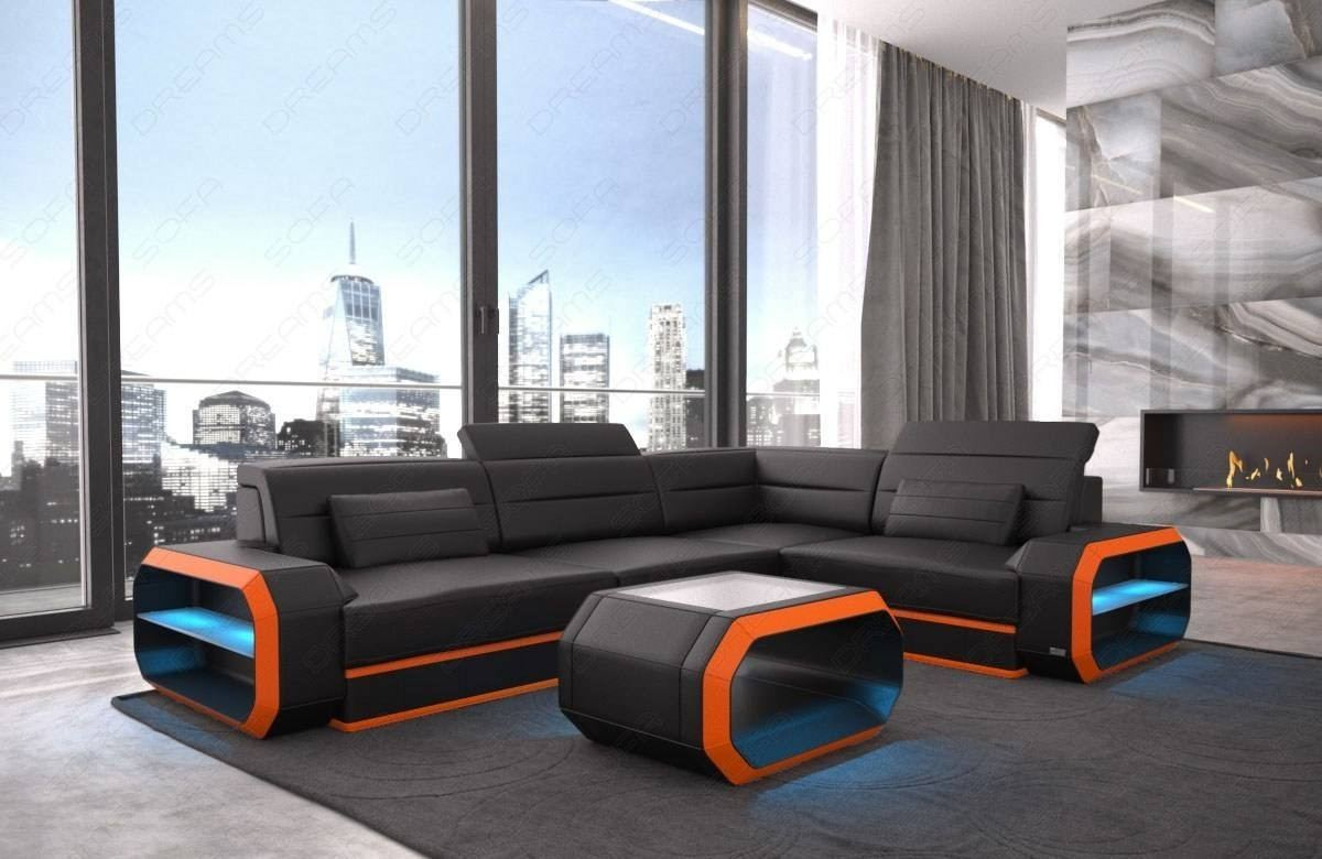 Leather Sofa Seattle LED lights - black-orange