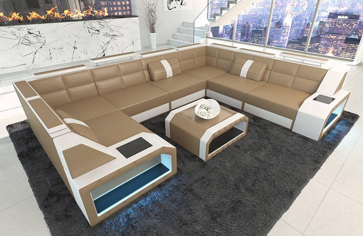Sectional leather sofa San Jose U Shape sandbeige-white