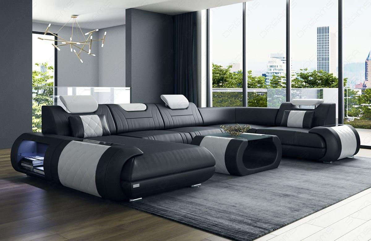 Sectional Corner Sofa Ventura U Shape black- white