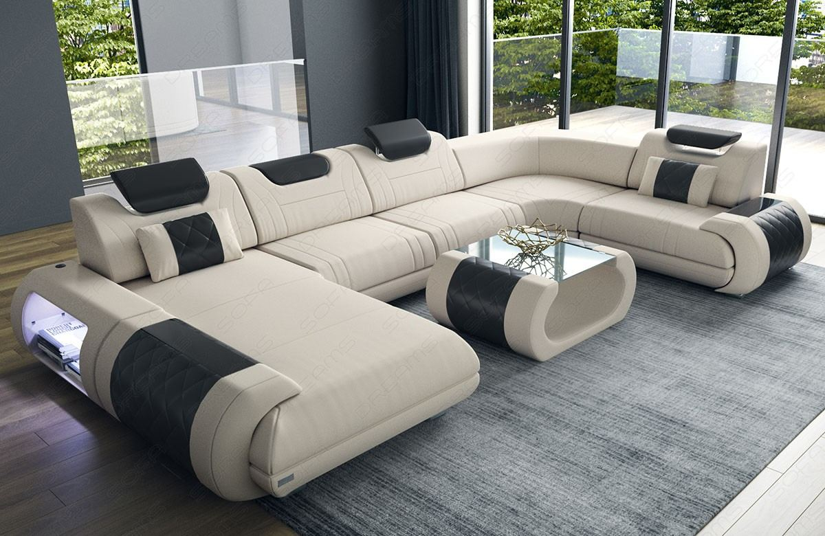 Fabric Design Sofa Ventura U Shape with LED - beige Mineva 1