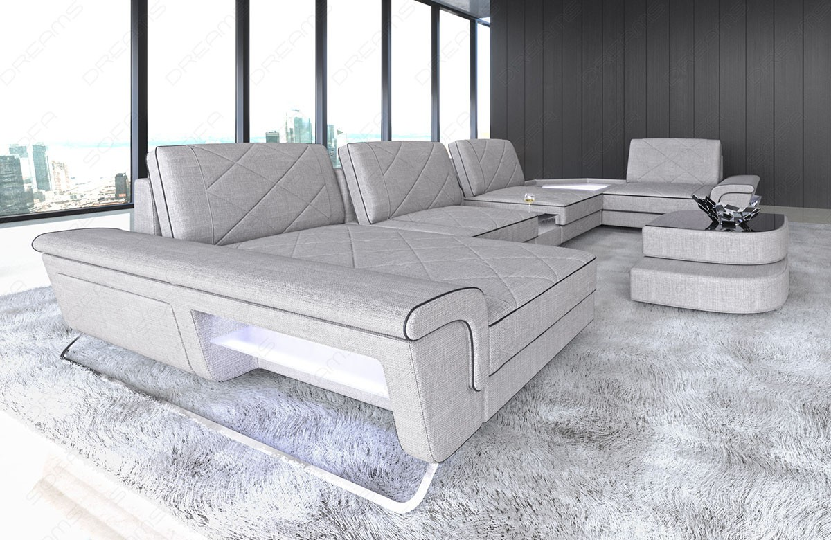 Fabric sectional sofa modern with lights and functions macchiato Hugo 2