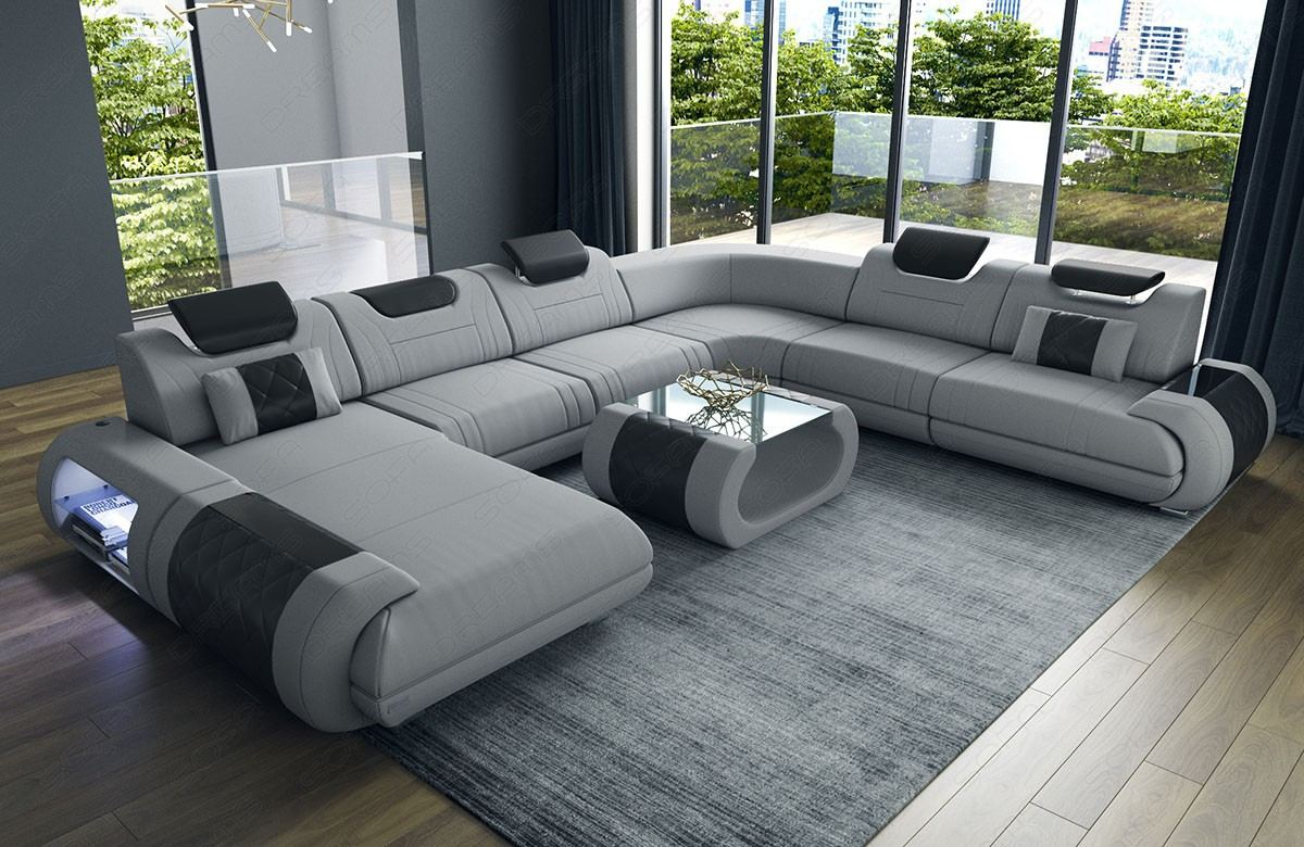 Fabric Sectional Sofa Ventura XL with Lights lightgrey Hugo 12