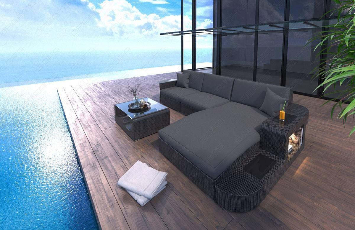Wicker Patio Sofa Jacksonville L-Shape in gray