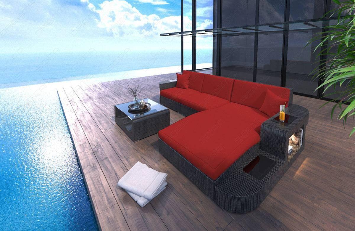 Wicker Patio Sofa Jacksonville L-Shape in red