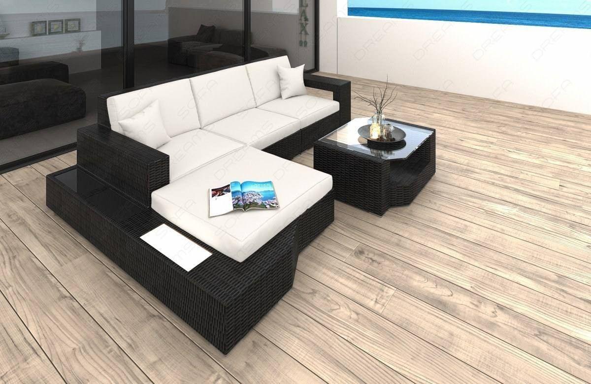 Wicker Lounge Sofa Los Angeles L Shape white