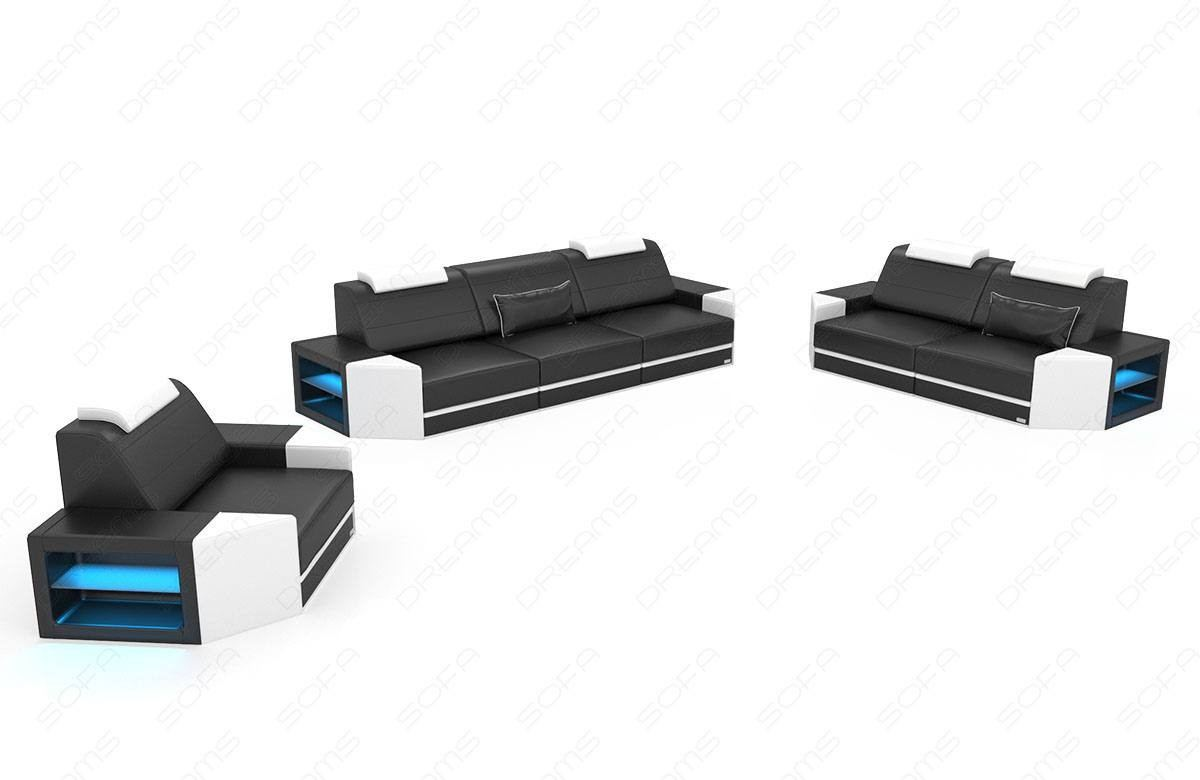Sofa Set Albany with adjustable headrests - black-white