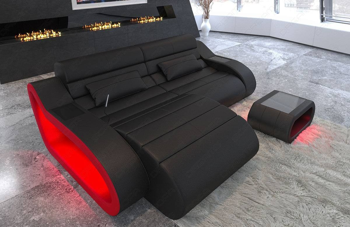 Leather Couch corner sofa Daytona with LED lighting in black - red