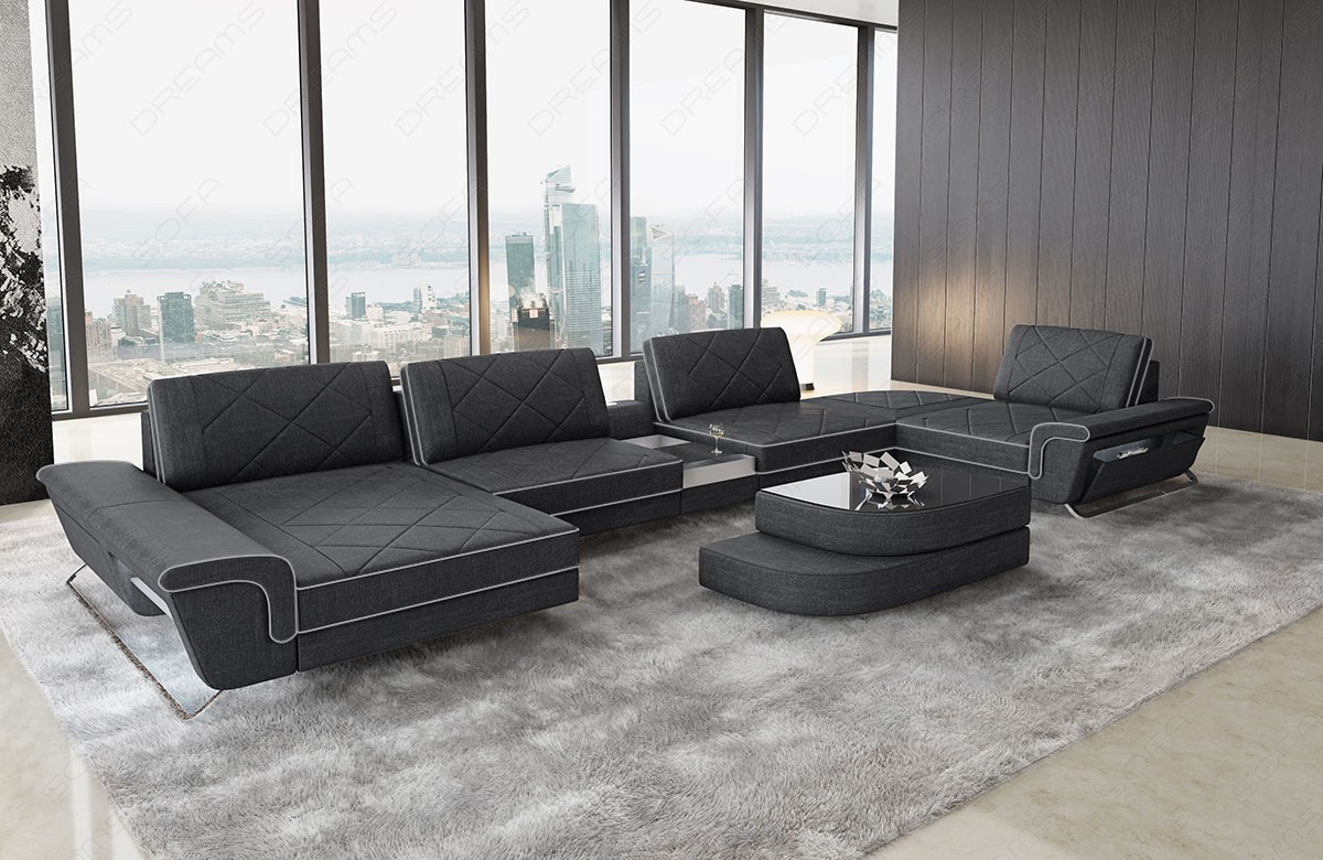 Sectional Fabric Sofa Las Vegas U Shape darkgrey - hugo 12