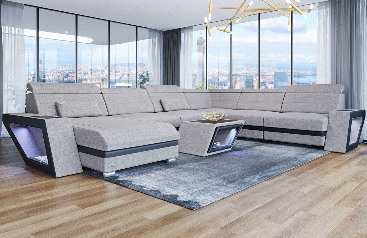Fabric Sectional Sofa Nashville U with Lights beige Hugo 2