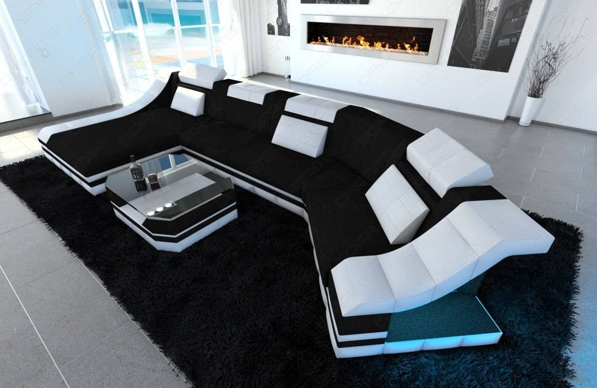Fabric sectional sofa with ottoman and leds black Hugo 14