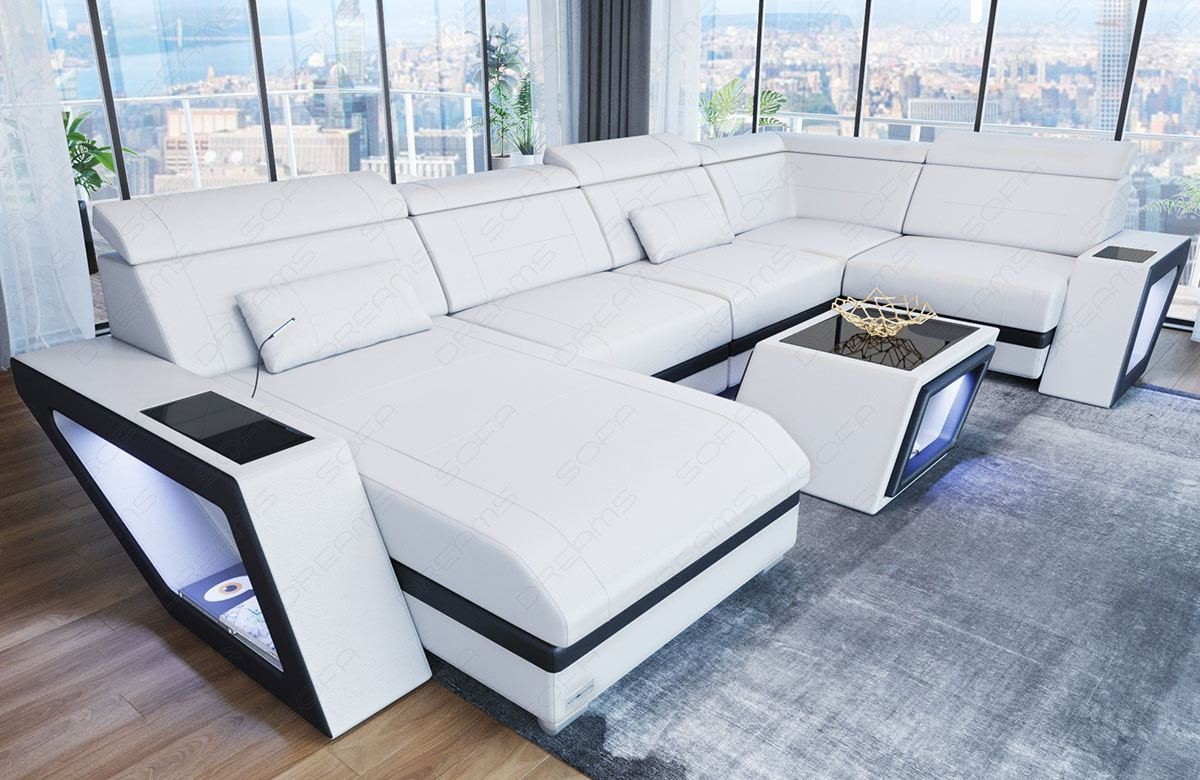 Corner Sofa Nashville U Shape white-black