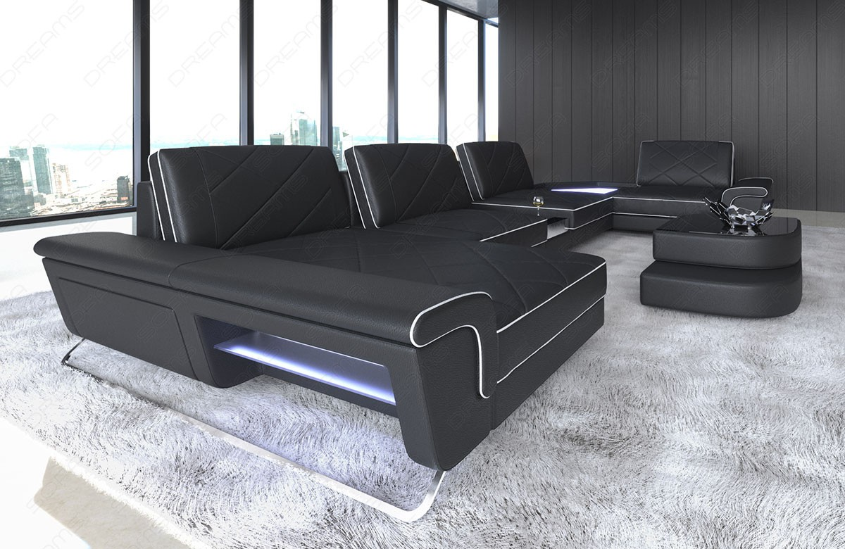 Modern leather sofa with backrest function black-white
