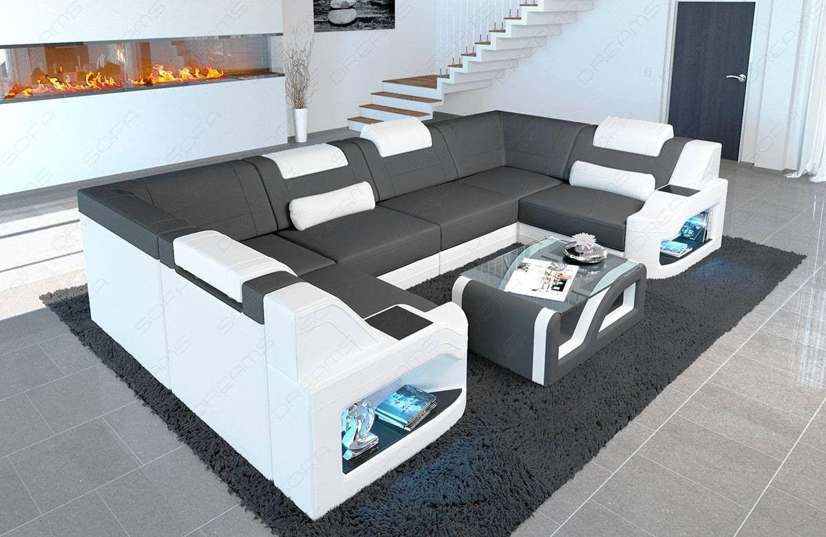 Fabric Sofa Manhattan U shape with adjustable headrests in microfibre fabric Mineva 8 - dark grey