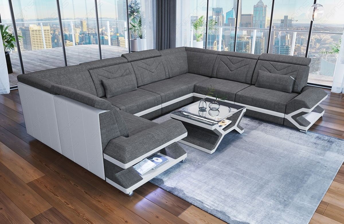 Fabric Design Sofa Sacramento U Shape with LED