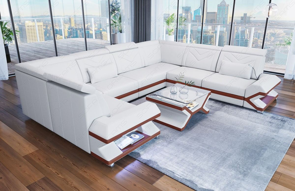 Leather Couch Sacramento in white - brown