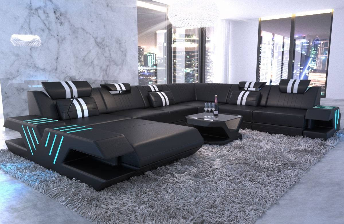 Big Sectional Sofa Beverly Hills XL Leather black-white