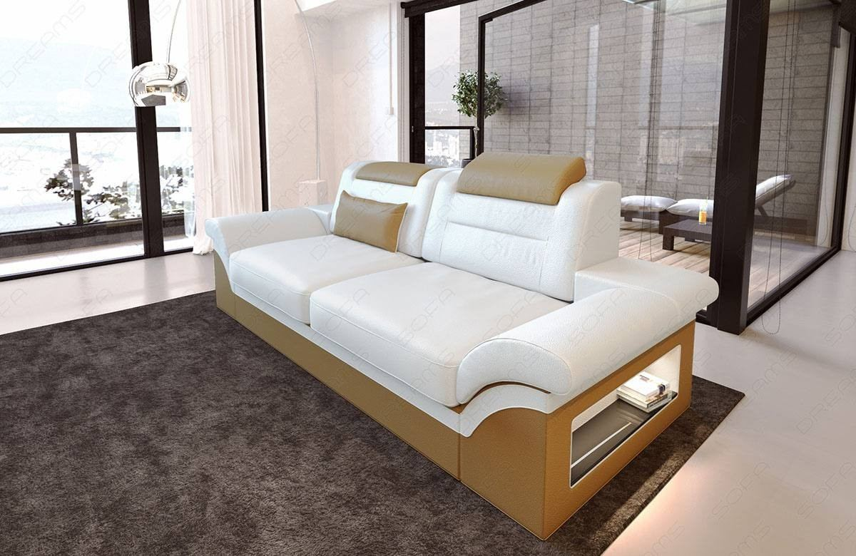 Leather Sofa Atlanta 2 Seater in white - beige