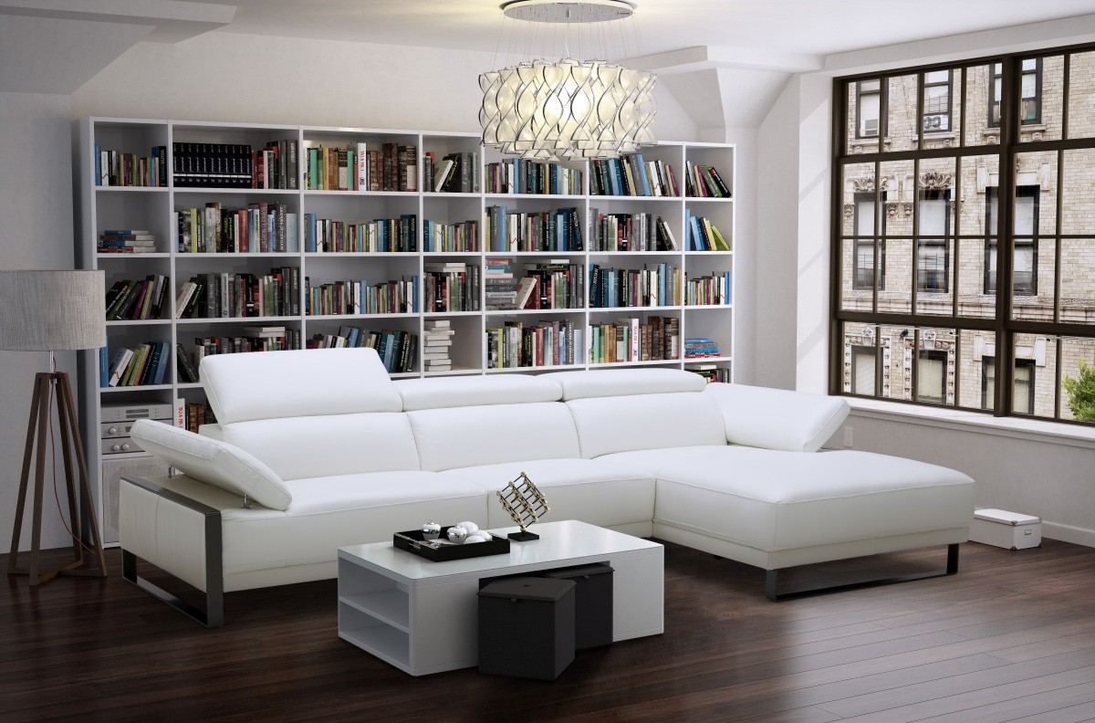 Italian Leather Sectional Frederico white