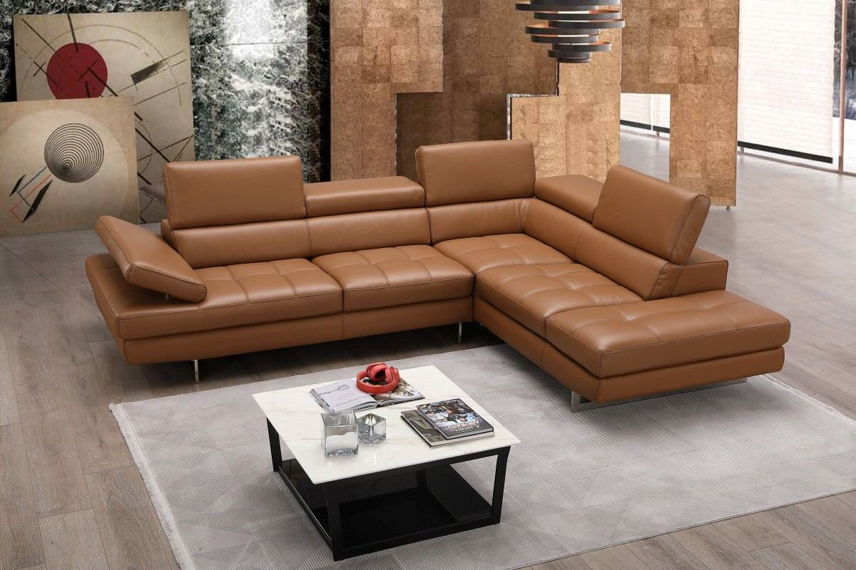 Sectional Leather Sofa Alessio caramel