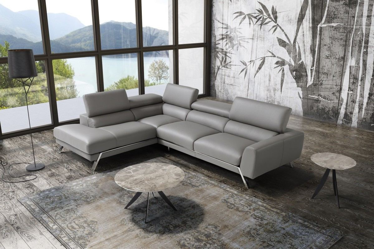 Italian Leather Sectional Marcello grey