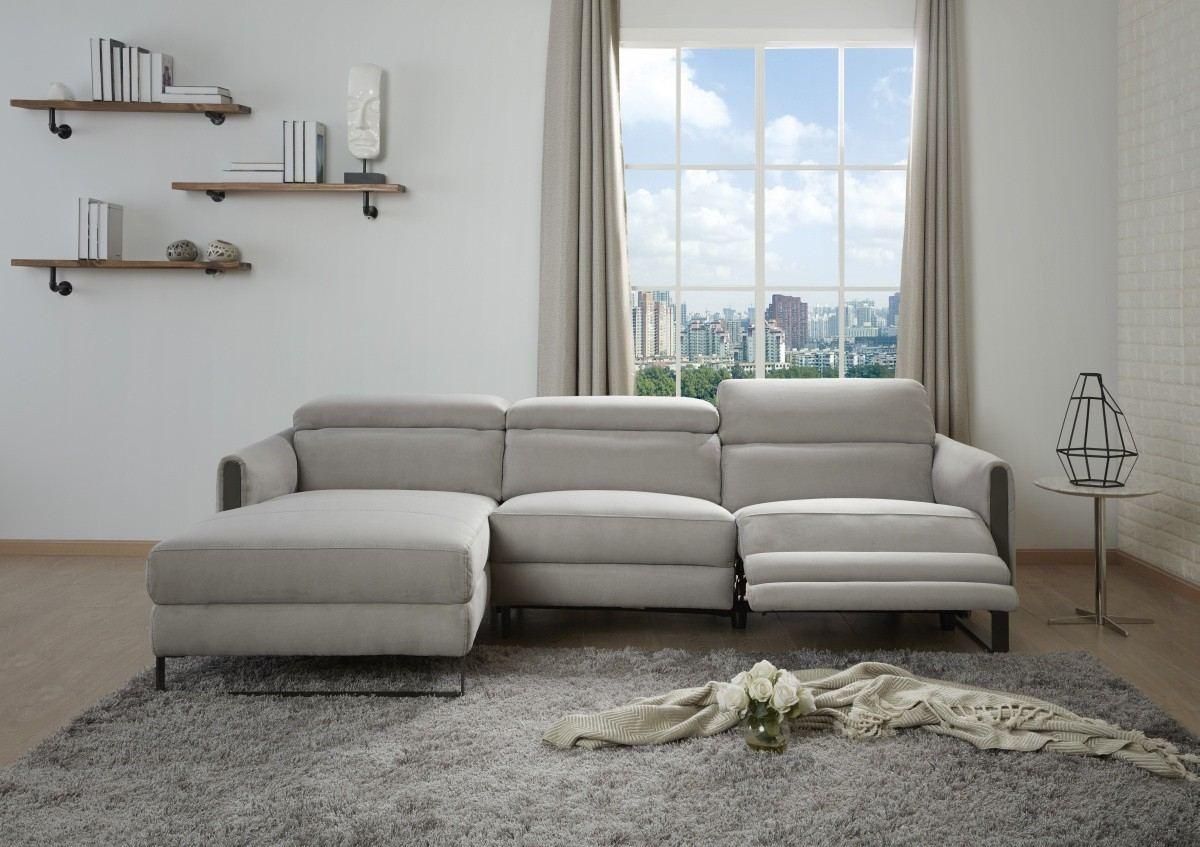Motion Recliner Sofa Set Aurelio Microfiber grey