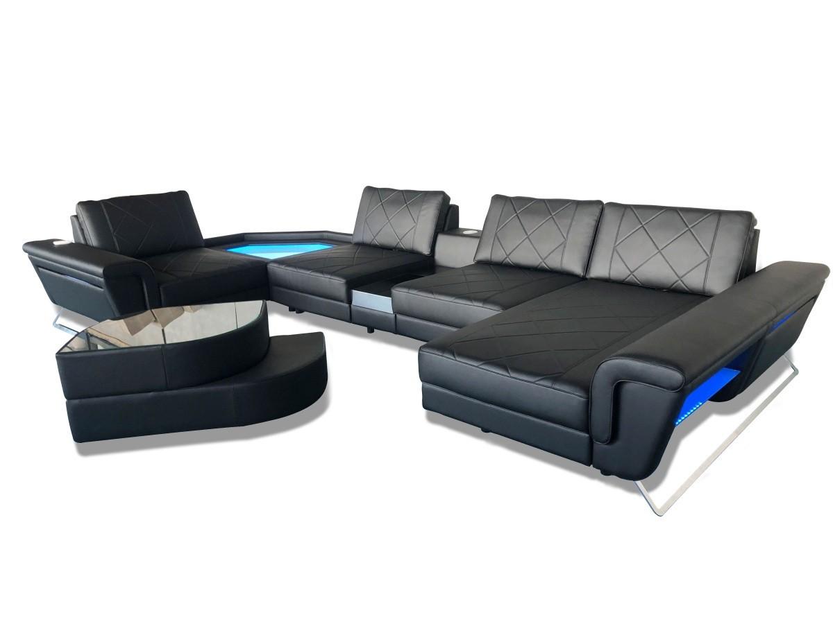 Sectional Leather Sofa Reno U Shaped black