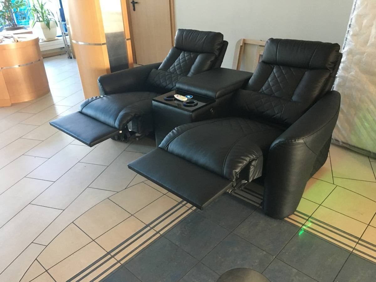 Leather relax chair with cooling cup holder and recliner function